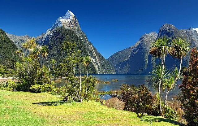 Soaring snow-capped mountain peaks reach for the deep blue sky in this picturesque scene of Milford Sounds in New Zealand