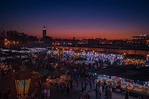 The market in Marrakech Morocco  glitters in the evening light