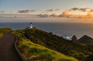 Picture of the sun setting off the west coast of New Zealand
