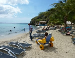 Picture of your beach wheelchair at Dolphin Resorts in Curacao