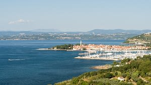 Picture of the Adriatic sea seen from the hills around Piran Slovenia