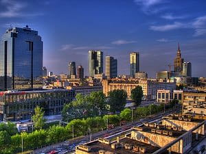 Skyscrapers dot the horizon in this view of Warsaw Poland