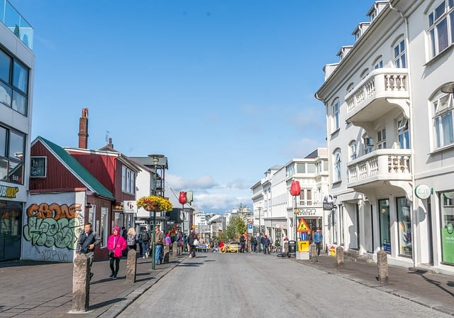 Street view of a quaint shopping district in Reykjavik