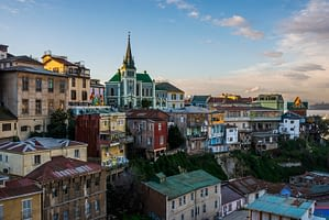 Picture of the colorful buildings of Valparaiso with the church steeple in the background