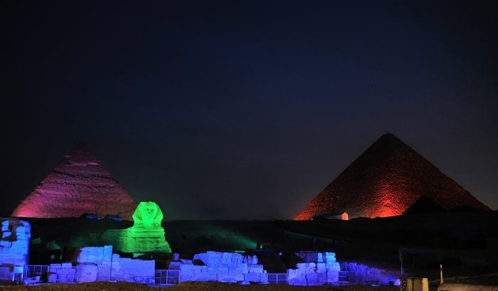 Picture of the light show on the pyramids at night