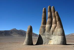 Stone hand in the Atacama Desert in Chile near San Pedro Atacama