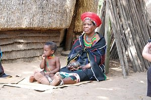 Picture of a woman and child in a Zulu Village in South Africa
