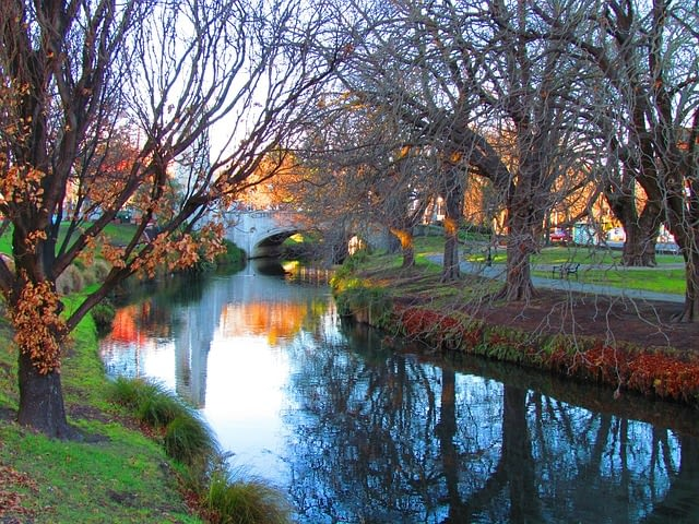Picture of a bridge crossing a waterway in Christchurch New Zealand