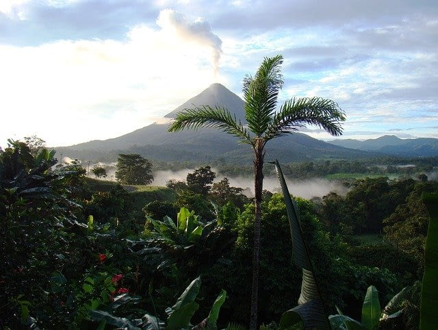 Picture of a relaxing spa like setting with Arenal Volcano in the background and a bright green palm tree front and centre