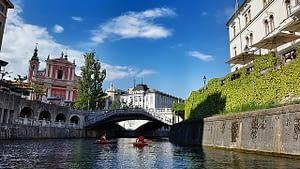 Stunning architecture under deep blue skies in the city of Ljubljana Slovenia