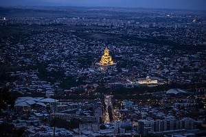 The church in Tbilisi sparkles in the evening lights