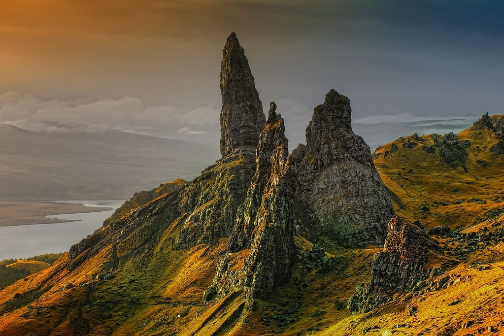 Picture of the Isle of Skye majestic peaks reaching for the setting sun