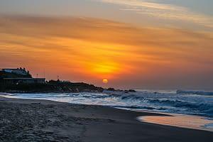 beautiful sunrise over the beach in Africa
