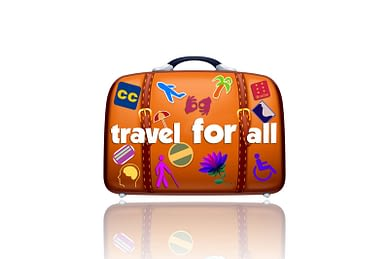 Travel for All logo is an orange suitcase with several travel stickers and the words Travel for All