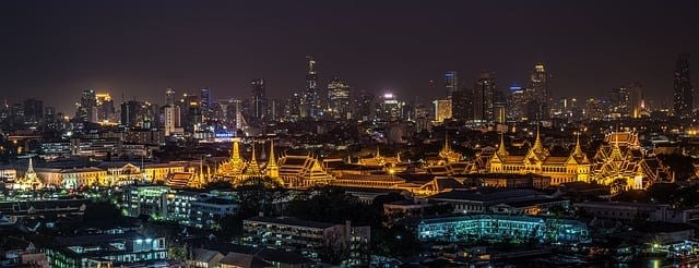 Picture of the Grand Palace in Bangkok seen glowing in the night sky