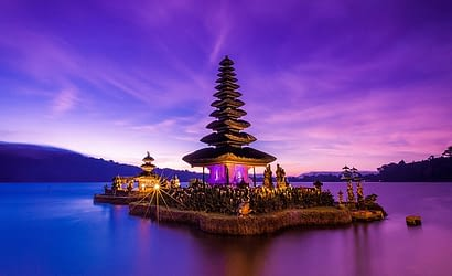 Spectacular Asian architecture dominates the skyline in Denpasar Bali Indonesia
