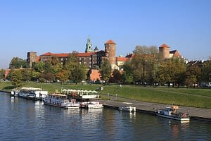 Beautiful view of traditional architecture in Krakow Poland